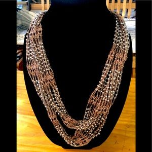 Jewelry - 5/$25 Silver & Sable Knit Wrap Necklace
